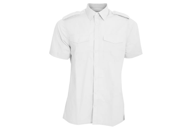 Kustom Kit Mens Short Sleeve Pilot Shirt (White) (14.5)