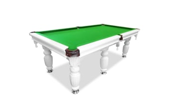 9FT Luxury Slate Pool Table Solid Timber Billiard Table Professional Snooker Game Table with Accessories Pack, White Frame / Green Felt