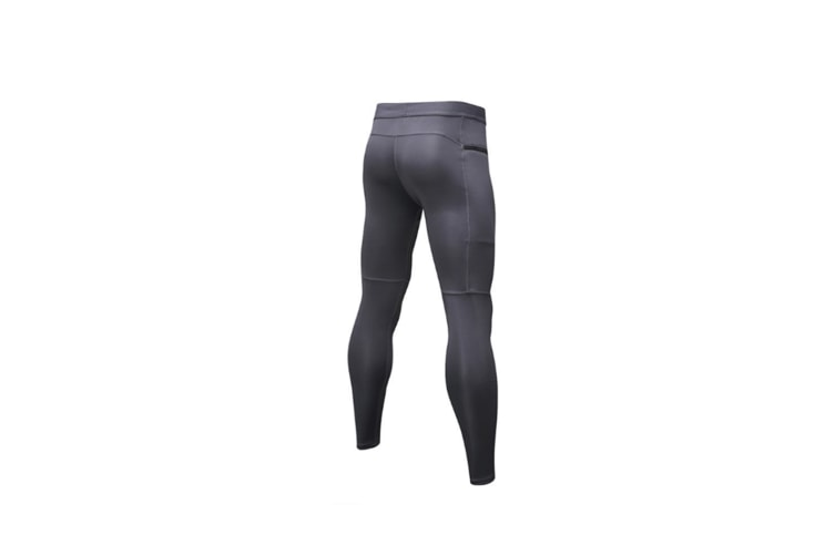 Men'S Compression Pants Pocket Baselayer Cool Dry Ankle Leggings Active Tights - Grey Grey L