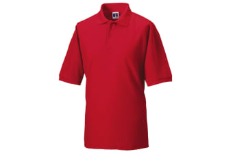 Russell Mens Classic Short Sleeve Polycotton Polo Shirt (Classic Red)