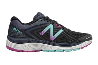 New Balance Women's 860v8 Running Shoe - D (Black/Poisonberry)