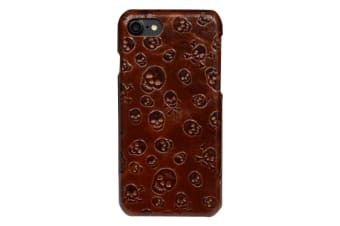 For iPhone 8 7 Case Stylish Skulls Genuine Cowhide Leather Fashion Cover Brown