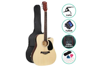 "41"" Inch Electric Acoustic Guitar Wooden Classical EQ Capo Nature"