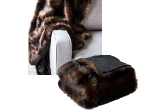 Luxury Faux Fur Throw Rug Brown Dark Sable 125 x 150 cm by J.elliot