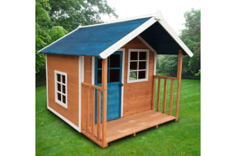 Blue Roof Cubby Wooden Outdoor Kids Playhouse