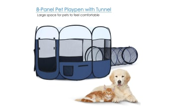 8 Panels Pet Playpen Dog Cat Tent Kennel Crate Cage Enclosure With Tunnel