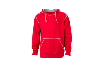 James and Nicholson Mens Lifestyle Hoodie (Red/Grey Heather) (L)