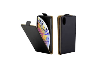 For iPhone XS Max Cover Vertical Flip Leather Wallet Card Slot Phone Case Black