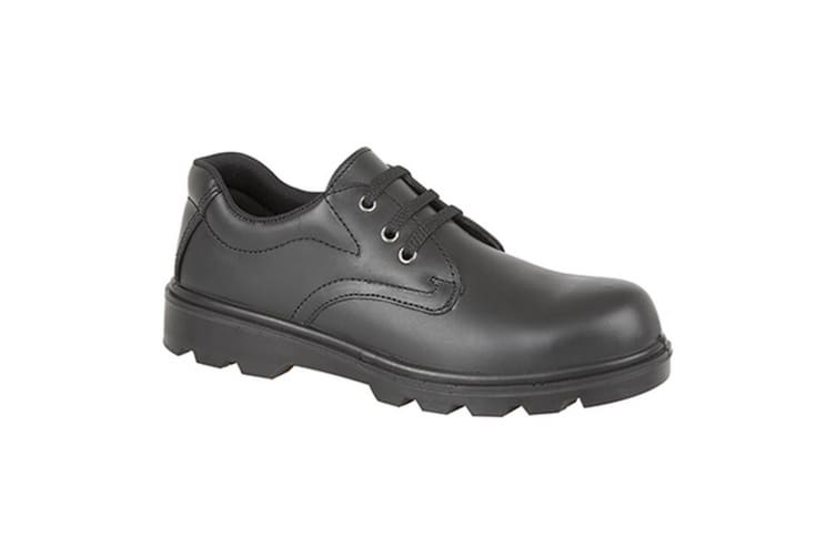 Grafters Mens Plain 3 Eye Shine Leather Safety Shoes (Black) (4 UK)