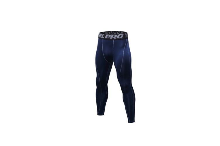 Men'S Compression Pants Baselayer Cool Dry Sports Tights Leggings - Navy Blue S