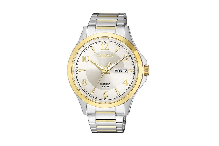 Citizen Men's Analog Quartz Watch with Day/Date - Stainless Steel/Gold (BF2005-54A)