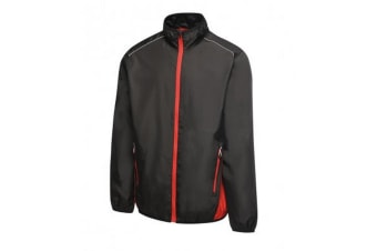 Regatta Activewear Mens Athens Contrast Tracksuit Jacket (Black/Classic Red)