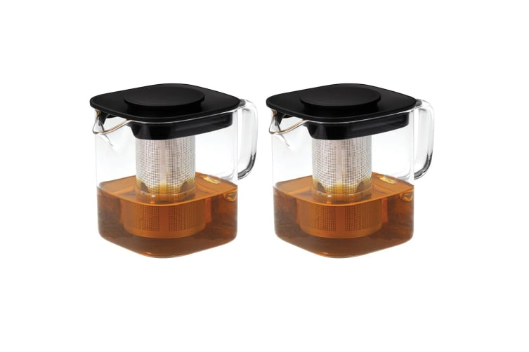2x Avanti 1L Oslo Square Glass Teapot w Stainless Steel Infuser Microwave Safe