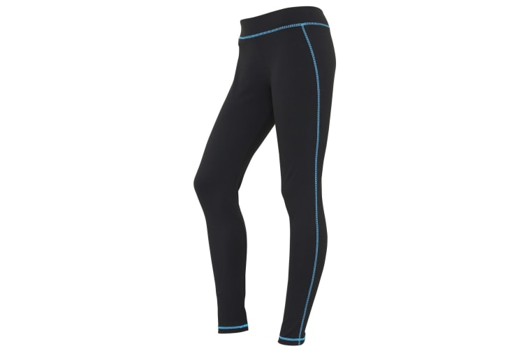 AWDis Just Cool Womens/Ladies Girlie Athletic Sports Leggings/Trousers (Jet Black/Sapphire Blue) (S)
