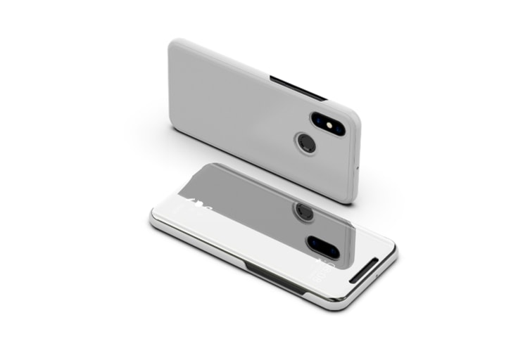 Mirror Case Translucent Flip Full Protection Mobile Phone Stand For Xiaomi Silver Xiaomi8Se