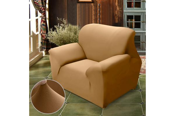 Easy Fit Stretch 1 Seater Couch Sofa Slipcover Protector Cover COFFEE