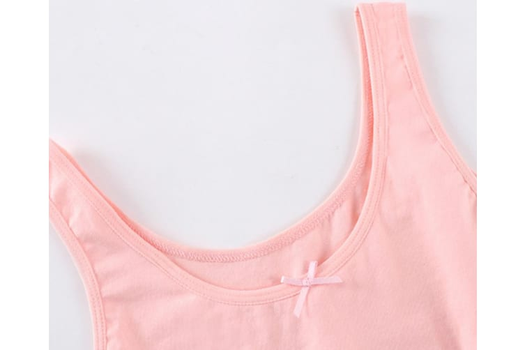 2Pcs Seamless Bra Soft Cotton Puberty Training Bra For Young And Little Girls - 3 Pink 150Cm
