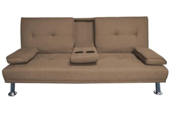 Hela 3 Seater Sofa Bed W/ 2 Cup Holder | Brown