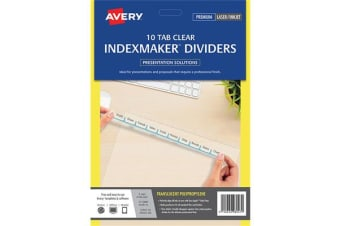 AVERY L7455-10 Indexmaker Dividers A4 10 Tab - Clear with Easy Apply Label