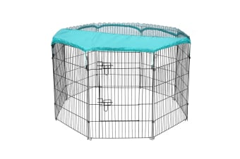 Pet Playpen with 8 Panels and Green Frabic Cover-L size