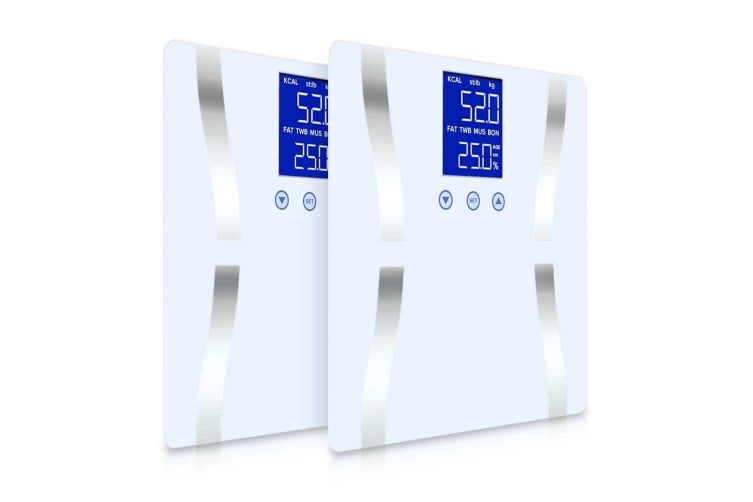SOGA 2x Digital Body Fat Scale Bathroom Scales Weight Gym Glass Water LCD Electronic White
