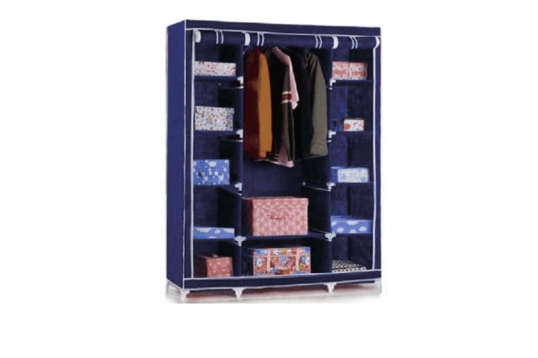 Large Storage Portable Bedroom Double Wardrobe Stable Easy Assemble Navy Blue