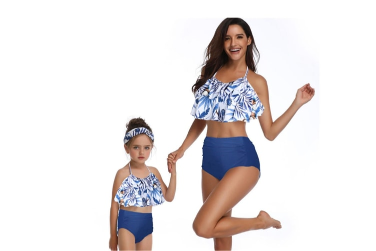 High Waisted Bathing Suit Mommy And Daughter Swimwear Bikini Sets - 6 L