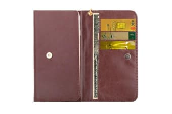 Universal Wallet Case  Horse Leather Texture Productive Cover Brown
