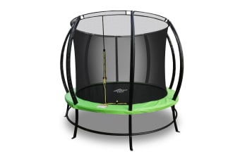 PoP Master 10FT Curved Trampoline with Basketball Hoop Ladder Storage Pouches