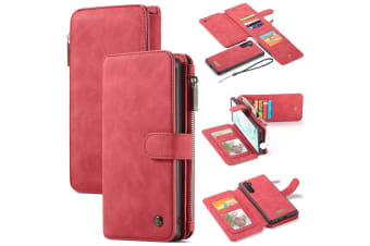 For Samsung Galaxy Note 10 Case  Wallet PU Leather Detachable Flip Cover  Red