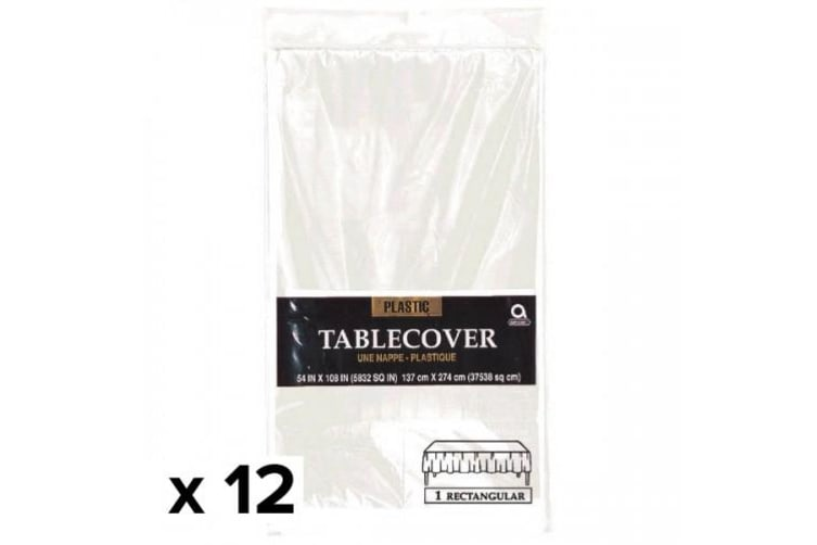 Amscan Rectangular Plastic Tablecover (Pack Of 12) (Frost White) (137cm x 274cm)
