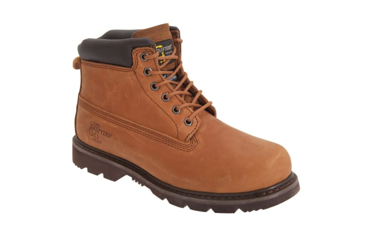 Grafters Mens 6 Eye Padded Leather Work Boots (Light Brown) (7 UK)