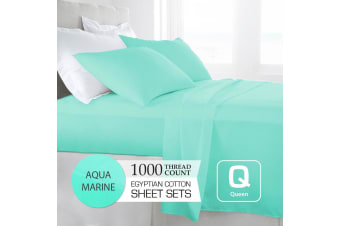 Queen Size Aquamarine 1000TC Egyptian Cotton Sheet Set