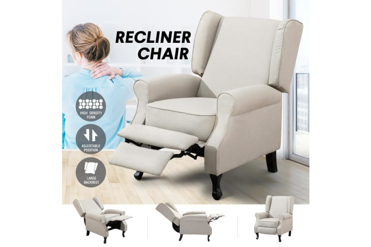 Modern Fabric Recliner Chair Lounge Single Sofa Beige