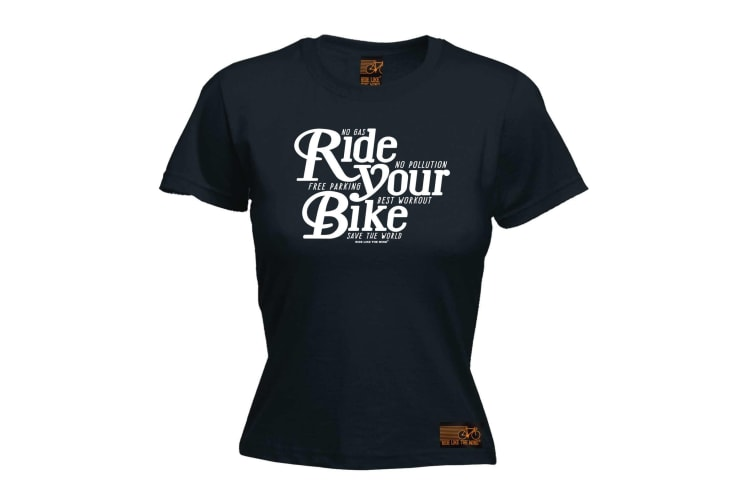 Ride Like The Wind Cycling Tee - Your Bike - (Small Black Womens T Shirt)