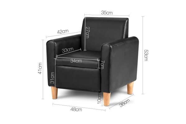 Kids PU Leather Couch Single (Black)