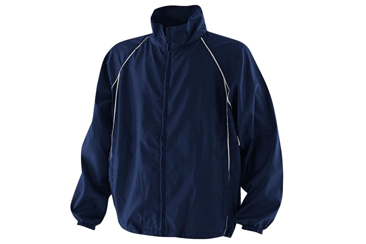 Finden & Hales Mens Piped Showerproof Full Zip Sports Training Jacket (Navy/Navy/White) (XL)