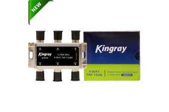 Kingray 4 way 15DB TAP 5-2400mhz Power Pass Fox APP F30955 TV Satellite