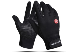Cycling Gloves With Cold-Proof Touch Screen For Men And Women In Outdoor Winter - Black Black M