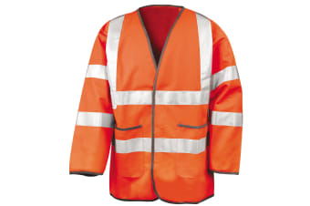 Result Mens High-Visibility Motorway Safety Jacket (EN471 Class 3 Approved) (Fluorescent Orange) (M)