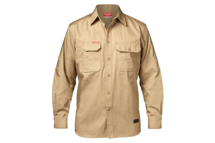 Hard Yakka Men's Legends Long Sleeve Shirt (Khaki, Size S)