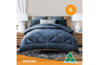 King Size Aus Made All Season Soft Bamboo Blend Quilt Blue Cover