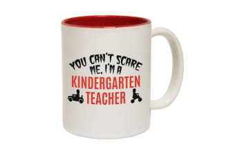 123T Funny Mugs - You Cant Scare Me Kindergarten Teacher - Red Coffee Cup