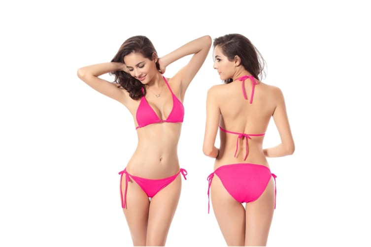 Beach Swimsuit Bikini Hoilday Summer Candy Color Swimwear For Women Rose Red S