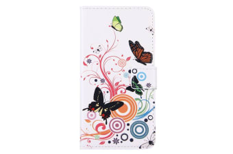 For iPhone 8 PLUS 7 PLUS Wallet Case Colourful Butterflies Durable Leather Cover