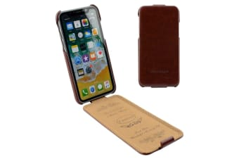 For iPhone XS X Case Elegant Fashion Vertical Flip Shielding Leather Cover Brown