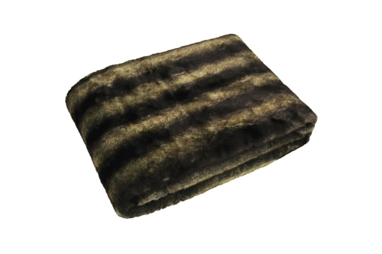Riva Home Canadian Faux Fur Wolf Throw (Copper) (150x200cm)