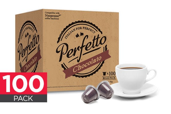 Image of 100 Pack Perfetto Nespresso Compatible Hot Chocolate Pods (Chocolato)