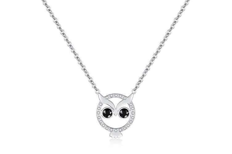 Bright-Eyed Owl Short Necklace|White Gold/Clear