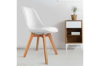 Artiss Padded Retro Replica Eames DSW Dining Chairs Cafe Chair Kitchen White x4